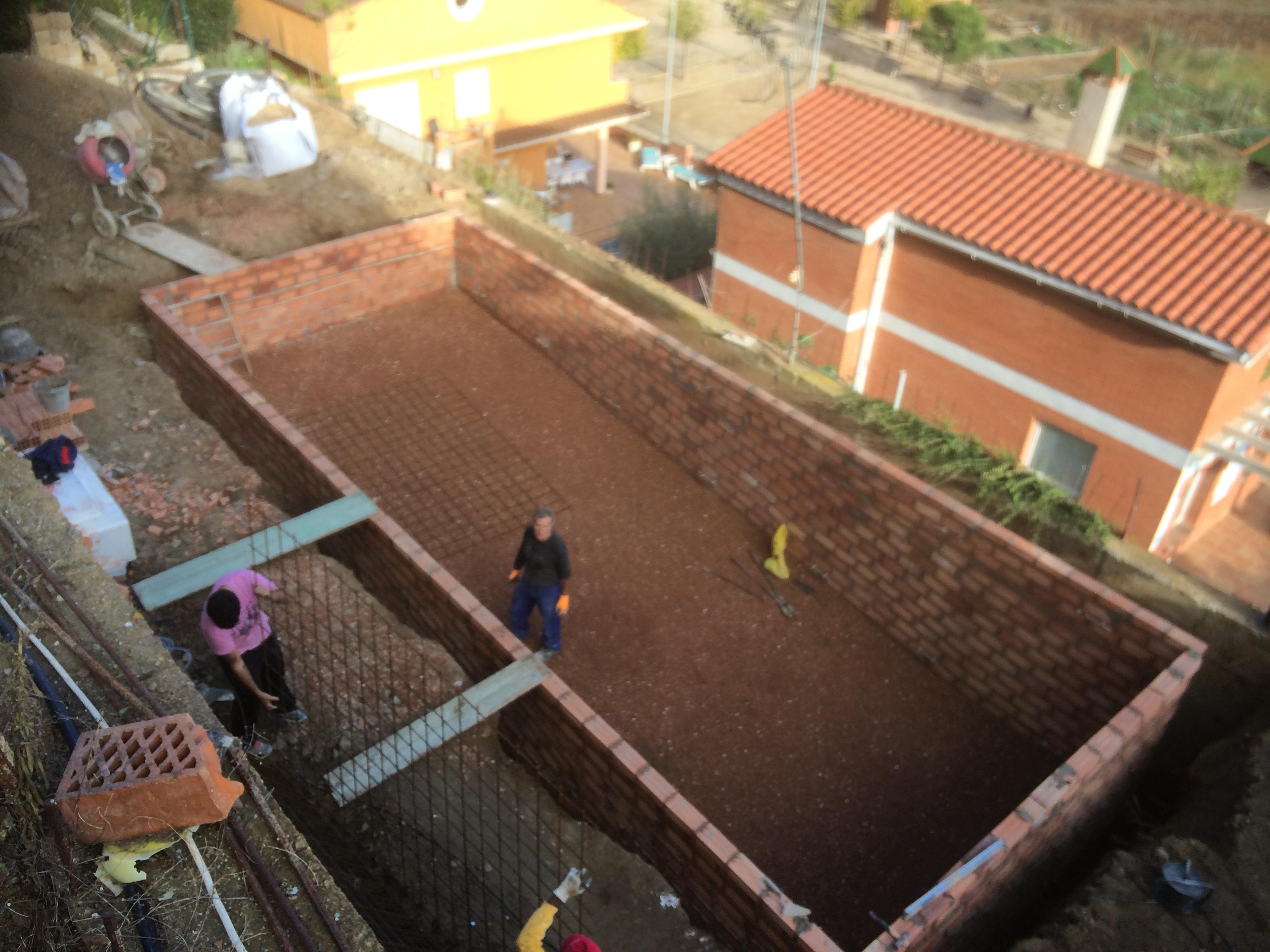 Vista de construcción de piscina